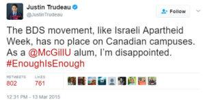 Justin Trudeau anti-BDS Tweet